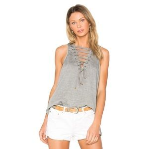 One Teaspoon Dirty Work Lace Up Tank Top XS NWT